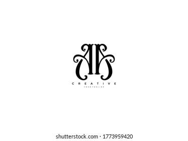 Initial Letter AA Linked Fancy Monogram Flourishes Logotype
