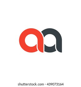 initial letter aa linked round lowercase logo red