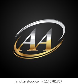 initial letter AA logotype company name colored gold and silver swoosh design. isolated on black background.