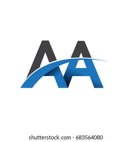 initial letter AA logotype company name colored blue and grey swoosh design. vector logo for business and company identity.
