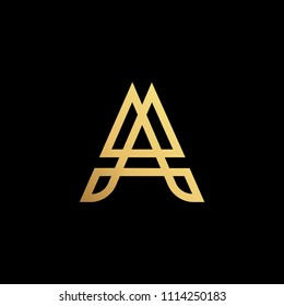 Initial letter A AA minimalist art logo, gold color on black background