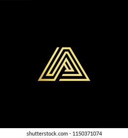 Initial letter A AA minimalist art monogram shape logo, gold color on black background