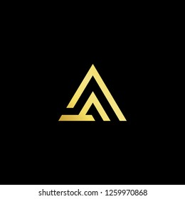 Initial letter AA minimalist art logo, gold color on black background. - Vector