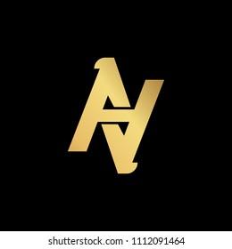 Initial letter AA AN NA AV VA minimalist art logo, gold color on black background
