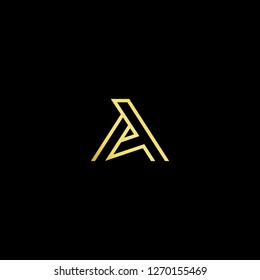 Initial letter AA AT TA AP PA minimalist art logo, gold color on black background.