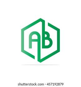 Initial Letter AB Design Linked Hexagon Logo Green