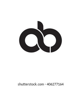 initial letter ab linked circle lowercase monogram logo black