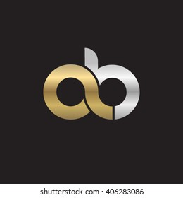 initial letter ab linked circle lowercase logo gold silver black background