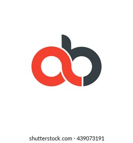 initial letter ab linked round lowercase logo red