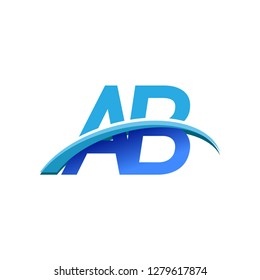 initial letter AB logotype company name colored blue and swoosh design. vector logo for business and company identity.