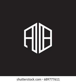 Initial letter AB, minimalist line art monogram hexagon shape logo, white color on black background