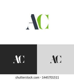 Initial Letter ac a c  uppercase modern logo design template elements. green letter Isolated on black white grey background. Suitable for business, consulting group company.