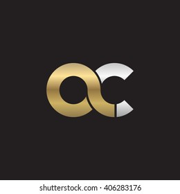 initial letter ac linked circle lowercase logo gold silver black background