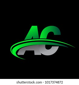initial letter AC logotype company name colored green and black swoosh design. vector logo for business and company identity.