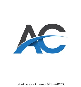 initial letter AC logotype company name colored blue and grey swoosh design. vector logo for business and company identity.