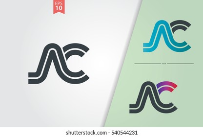 Initial Letter AC NC Linked Design Logo Company