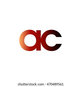 Initial letter AC red brown gradation color logo
