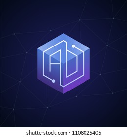 Initial letter AD, AO, block chain, looping mono line circuit letter on hexagon cube logo, blue magenta gradient color on black blue network background