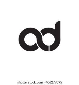 initial letter ad linked circle lowercase monogram logo black