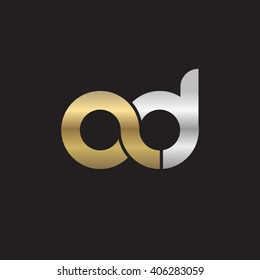 initial letter ad linked circle lowercase logo gold silver black background