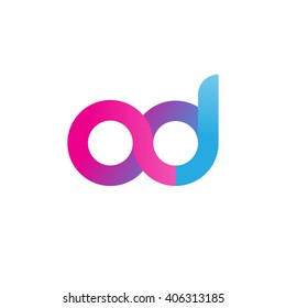 initial letter ad linked circle lowercase logo pink blue