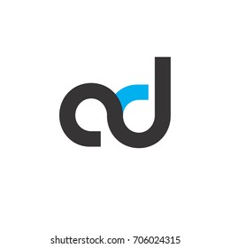 Initial Letter AD Linked Circle Lowercase Logo Black Blue Icon Design Template Element