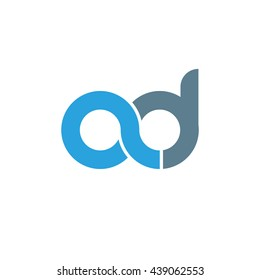 initial letter ad linked round lowercase logo blue