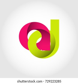 Initial Letter AD Rounded Lowercase Logo. Logo template.
