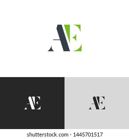 Initial Letter ae a e  uppercase modern logo design template elements. green letter Isolated on black white grey background. Suitable for business, consulting group company.