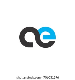 Initial Letter AE Linked Circle Lowercase Logo Black Blue Icon Design Template Element