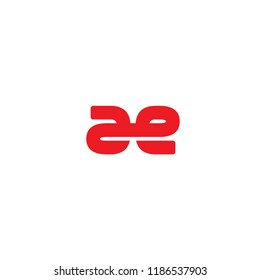 Initial Letter AE Linked Logo in Red Colored