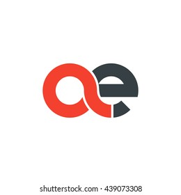 initial letter ae linked round lowercase logo red