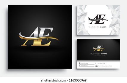 initial letter AE logotype company name colored gold and silver swoosh design. Vector sets for business identity on white background.