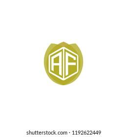 Initial Letter AF, A, F Logo Design with Leaf, Ecology, Nature, Organic Illustration for Company Identity Concept Design