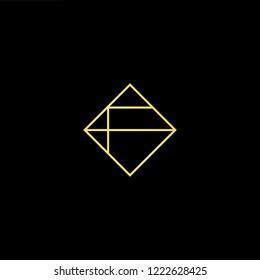 Initial letter AF FA minimalist art logo, gold color on black background.