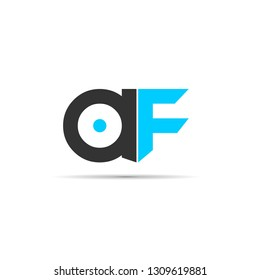 initial letter af linked circle lowercase grey blue logo