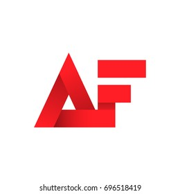 Initial letter AF linked design, vector icon for professional branding in red color.