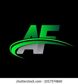 initial letter AF logotype company name colored green and black swoosh design. vector logo for business and company identity.