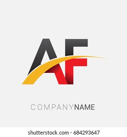 initial letter AF logotype company name colored red, black and yellow swoosh design. isolated on white background.