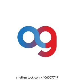 initial letter ag linked circle lowercase logo blue red
