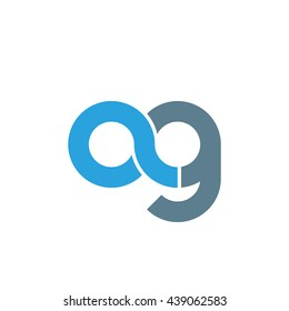 initial letter ag linked round lowercase logo blue