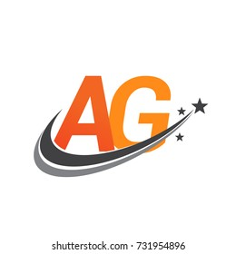 initial letter AG logotype company name colored orange and grey swoosh star design. vector logo for business and company identity.
