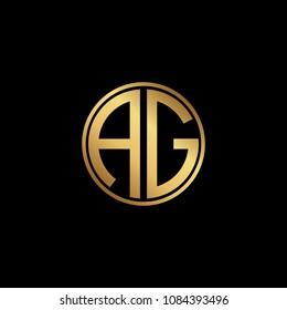 Initial letter AG, minimalist art monogram circle shape logo, gold color on black background
