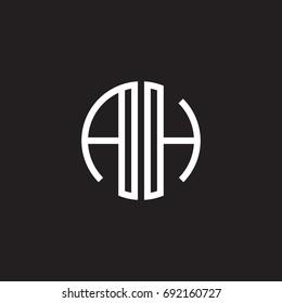 Initial letter AH, minimalist line art monogram circle shape logo, white color on black background
