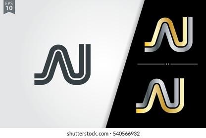Initial Letter AI AU AJ Linked Design Logo Company
