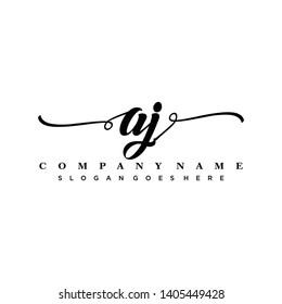 Initial letter AJ beautiful handwriting logo vector template