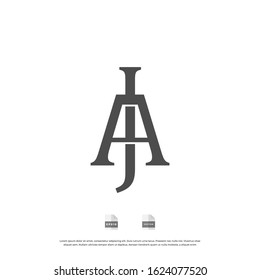 Initial letter AJ, JA, J, A uppercase modern logo design template elements. black letter Isolated on white background. can be used for business, consulting group company.