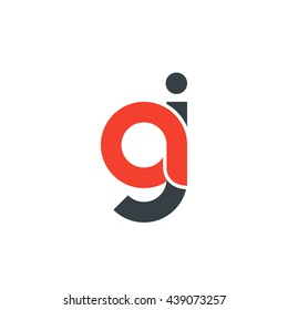 initial letter aj linked round lowercase logo red