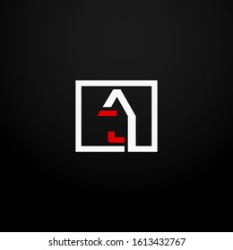 Initial letter AJ linked square logo white and red color. Corporate identity design template element. Industry, finance, bank logotype. Square group, technology interaction, network integrate concept.