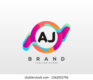 Initial letter AJ logo with colorful circle background, letter combination logo design for creative industry, web, business and company. - Vector